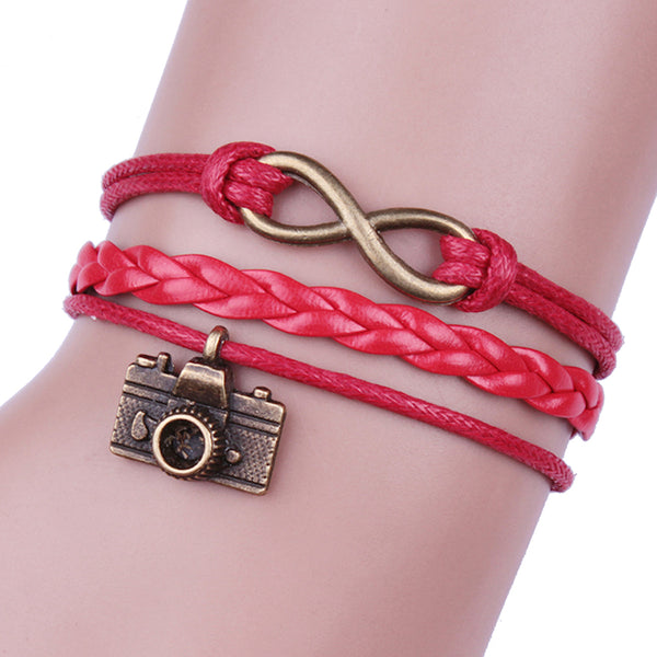Multilayer Infinity Camera Charm Wristband