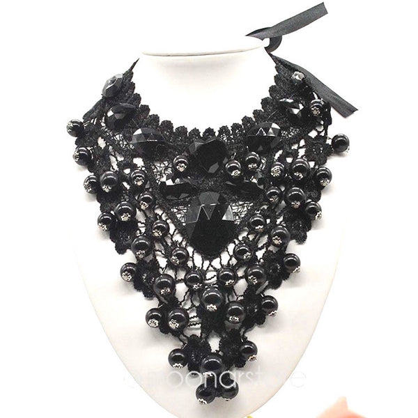 Vintage Beaded Lace Necklace