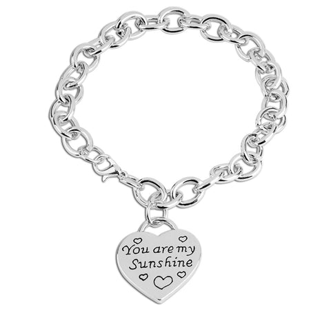 YOU ARE MY SUNSHINE Engraved Heart Charms Bracelet