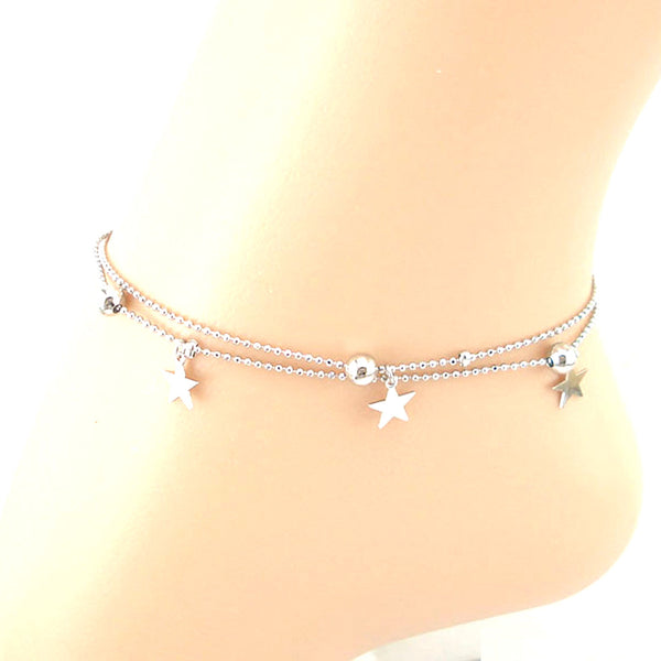 Sparkling Stars & Beads Layered Anklet