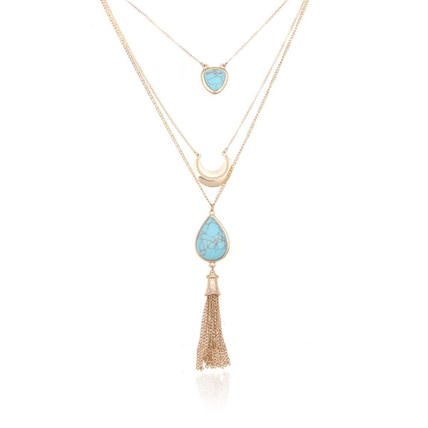 Layered Metal Tassel Necklace