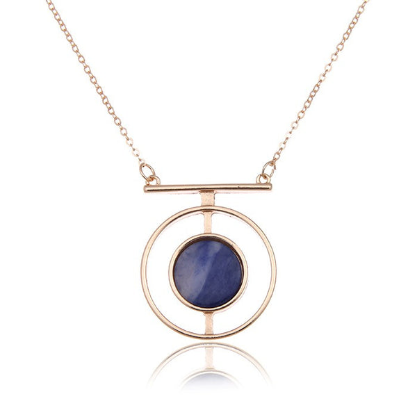 Hollow Circle Stone Necklace
