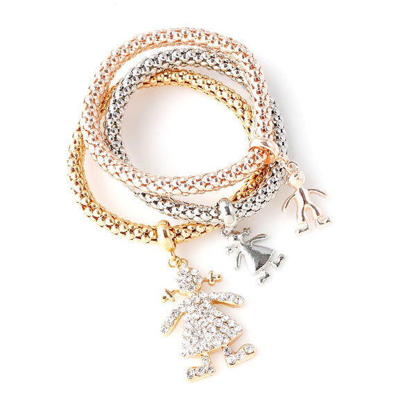 Girl Figure Charms 3Pc Bracelet