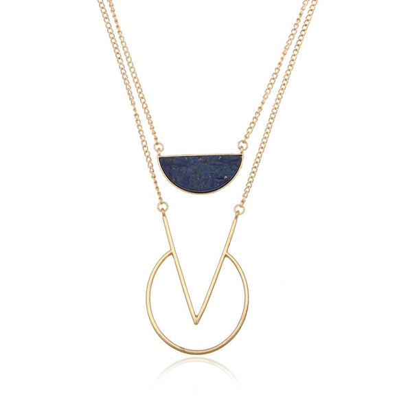 Big V Shape Layered Chain Necklace