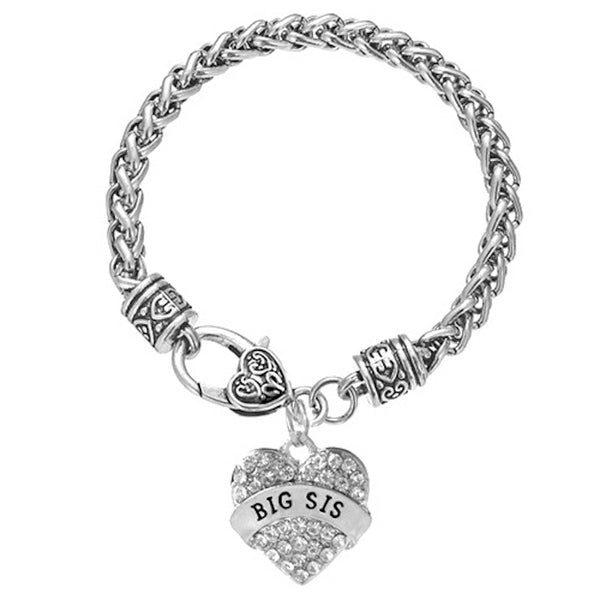 BIG SISTER Crystals Studded Heart Charms Bracelet