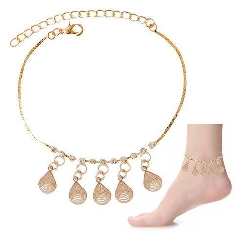 Crystal & Water-Drop Dangle Charms Anklet