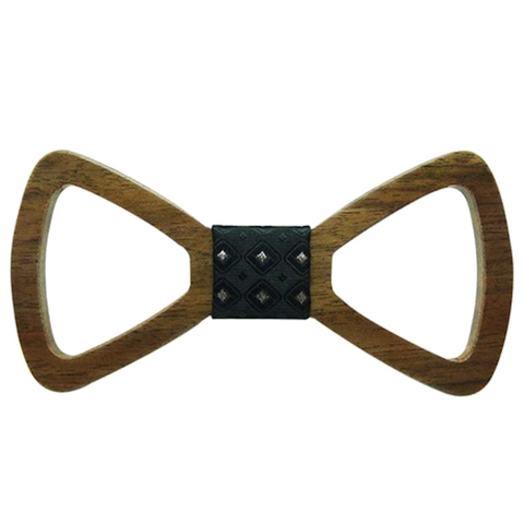Silver Dots on Black Centred Wooden Bowtie