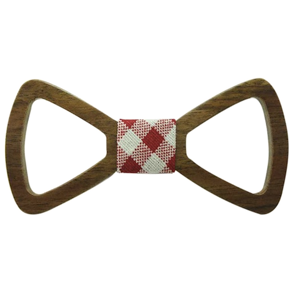 Red/White Checks Centered Wooden Bowtie