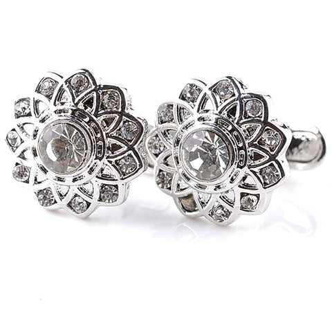 Flower Shape Crystal Cufflinks