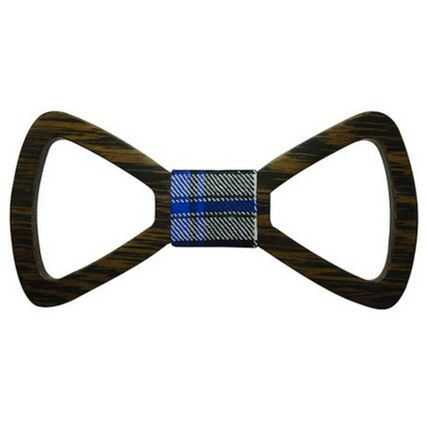 Blue Checks Centered Wooden Bowtie