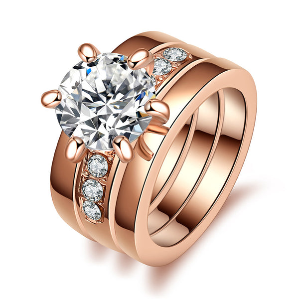 Imitiation Solitaire Wedding Rings Set
