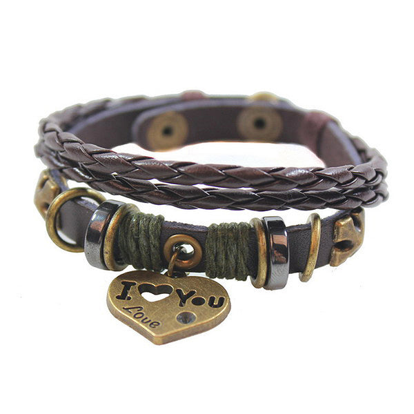 I Love You Valentine Leather Bracelet