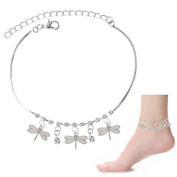 Crystal & Dragonfly Dangle Charms Anklet