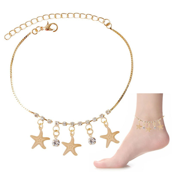 Crystal & Starfish Dangle Charms Anklet