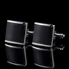 Black with Silver Edge Cufflinks