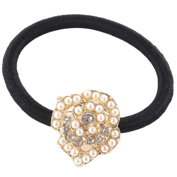 Embellished Rose Metal Charm Elastic Ponytail Band