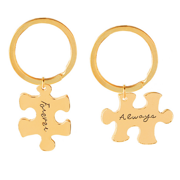 FOREVER ALWAYS Engraved Keychain Set