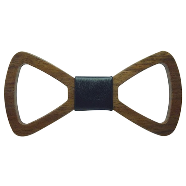 Black Leather Centered Wooden Bowtie