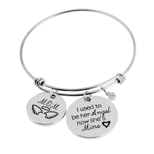 I USED TO BE HER ANGEL NOW SHE IS MINE Mom Love Charms Bracelet