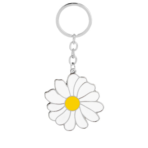 White Daisy Flower Spring Time Keychain