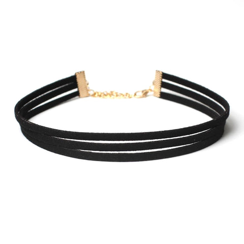 Three Strips Gothic Choker Necklace