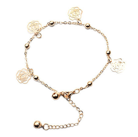 Rose Charms Beaded Anklet