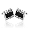 Black Enamel Crystal Embellished Cufflinks