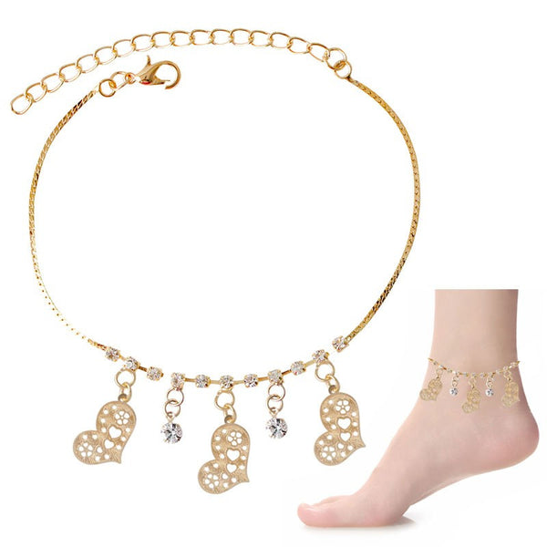 Crystal & Love Dangle Charms Anklet