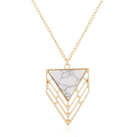 Drop Triangle Grid Pendant Necklace