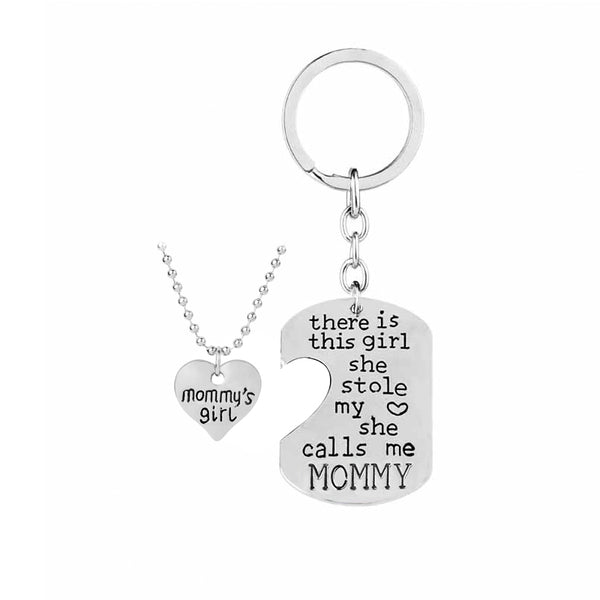 THERE IS THIS GIRL SHE STOLE MY HEART SHE CALLS ME MOMMY Family Keychain Set