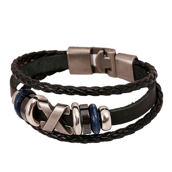 Cross Sign Leather Bracelet
