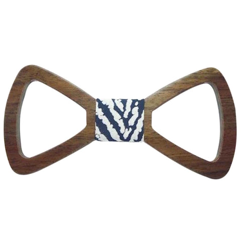 Blue/White Striped Wooden Bowtie