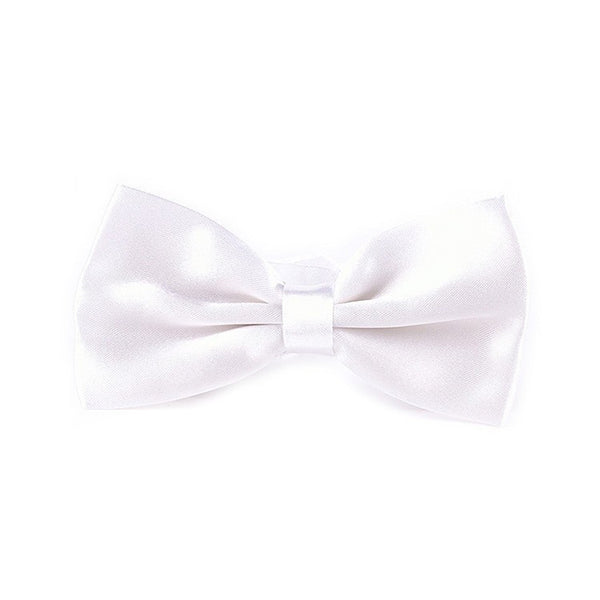 Shiny White Satin Bowtie