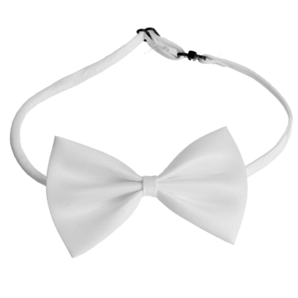 Smooth White Polyester Bowtie