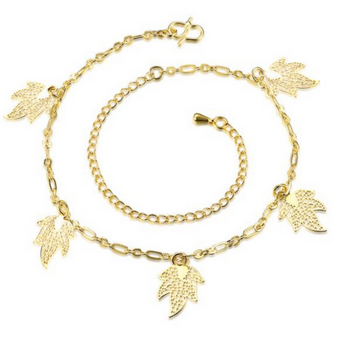 Maple Leaf Charms Anklet