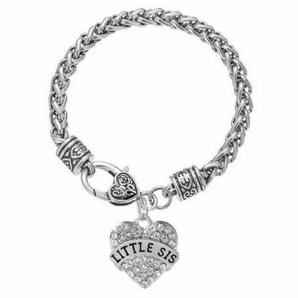 LITTLE SISTER Crystals Studded Heart Charms Bracelet
