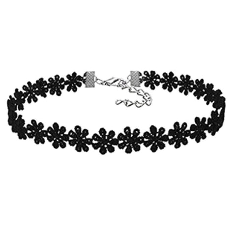 Connected Flowers Gothic Choker Necklace
