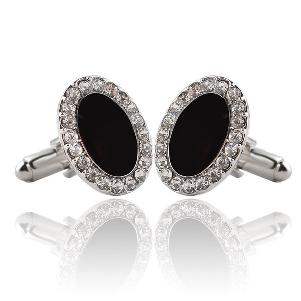 Big Gem Crystal Oval Cufflinks