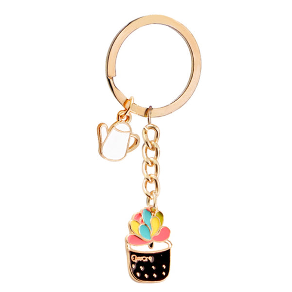 Colorful Enamel Succulent Plants Shaped Keychain