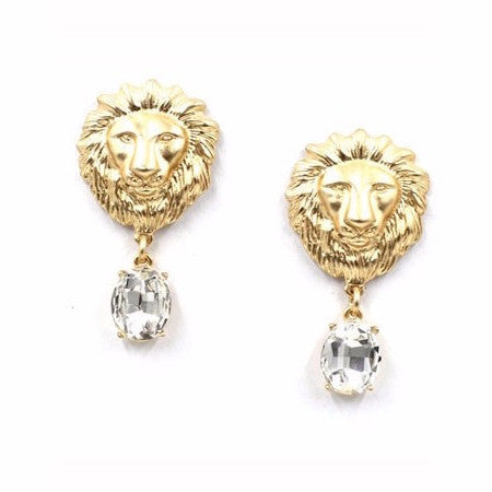 Crystal Lion Head Stud Earrings