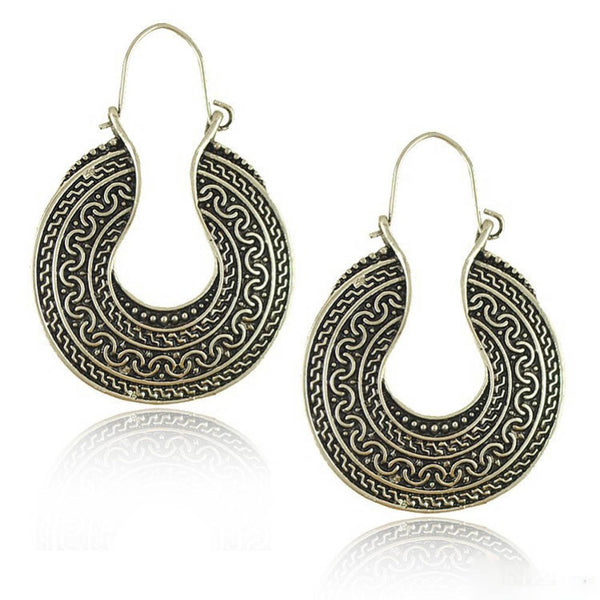 U-shaped Carved Oval Hoops