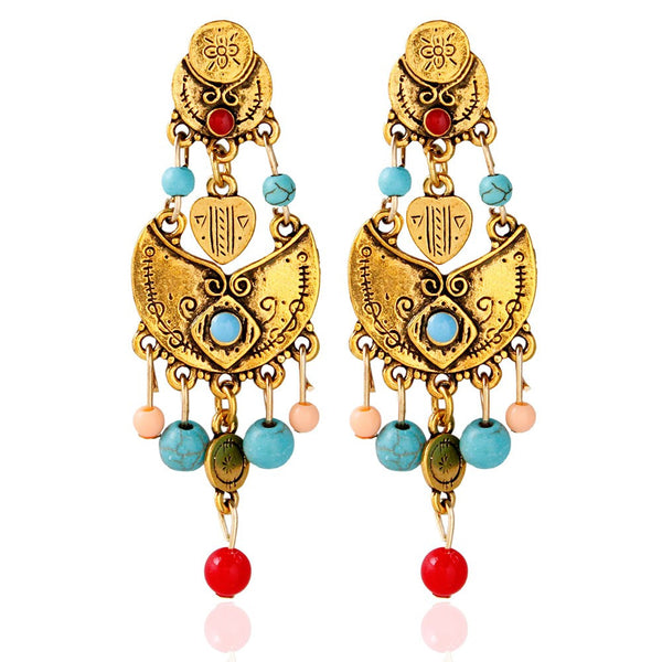 Beaded Coins Drop Earrings
