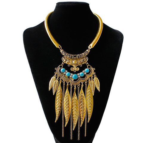Bohemian Feather & Tassel Torque