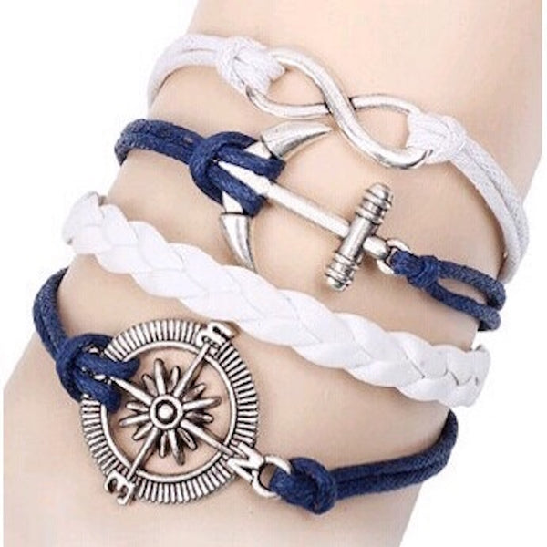 Multilayer Anchor & Compass Rope Bracelet