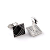 Black Enamel Lines Pattern Cufflinks