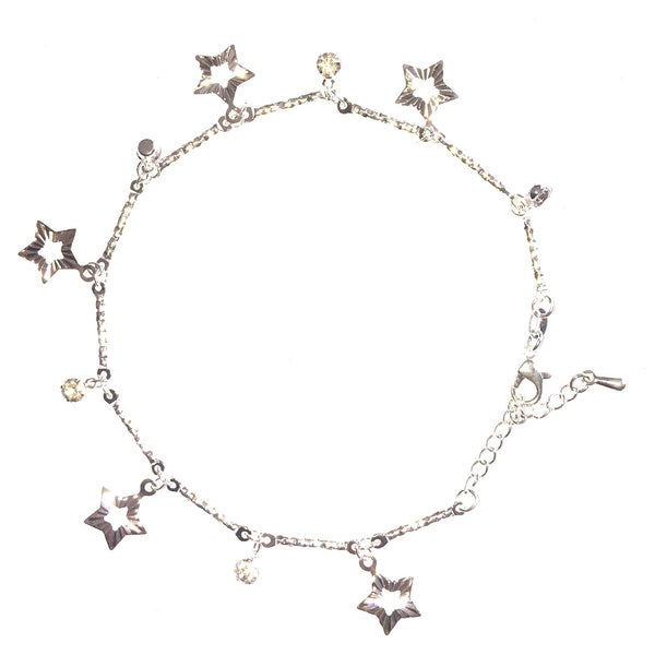 Crystal & Stars Dangle Charms Anklet