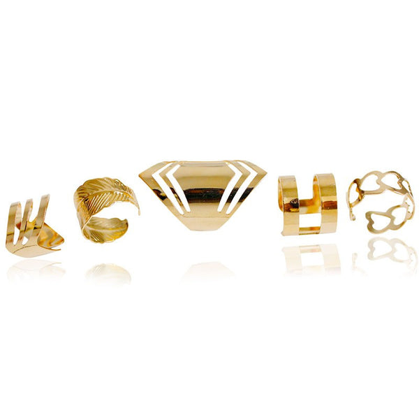 Hollow Geometry Rings Set