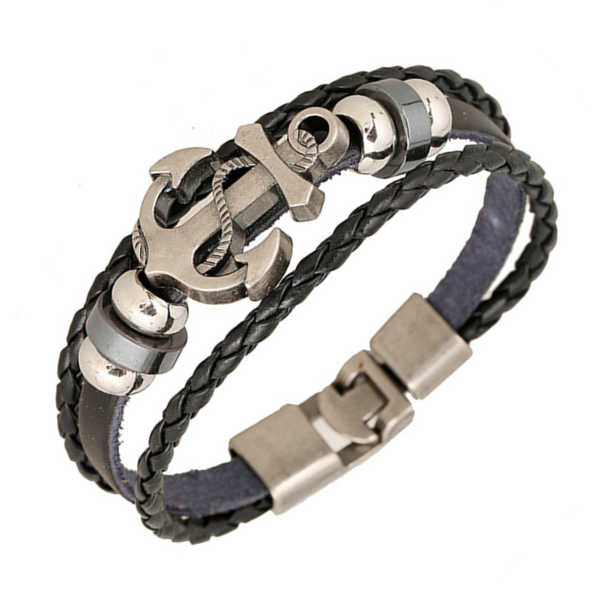 Anchor Pattern Leather Bracelet