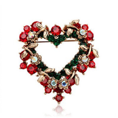 Christmas Heart Brooch