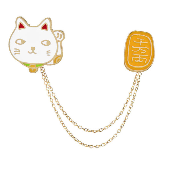 Cat & Chinese Collar Pin